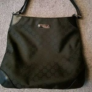 Authentic Gucci Canvas Hobo with Leather Trim
